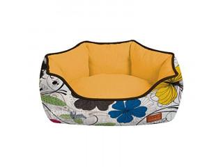 Croci Лежак COZY FUXIA, оранжевый-цветы 40*32*16см