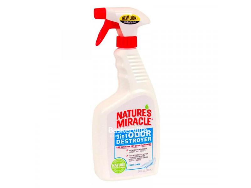8in1 Nature's Miracle 3in1 Odor Destroyer Спрей для удаления запахов с ароматом свежести, 709 мл
