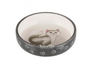 Trixie миска Перс 0,3л для кошек короткомордых пород, серая