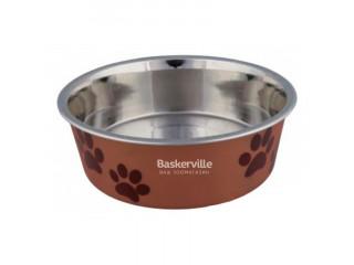Trixie миска для собак металическая, коричневая 0.25л