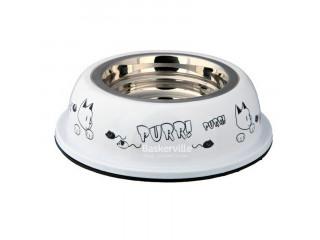 Trixie миска для кота метал/пластик 0,25л, белая