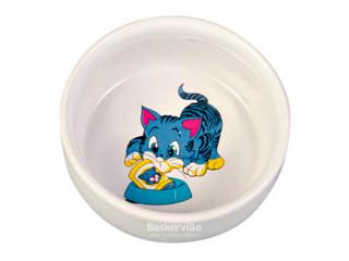 Trixie - керамическая миска с рисунком для кошек 0.3 л