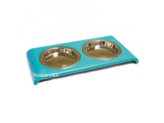 Croci миска Twin Bowl 2*0,4л 14 см для кошек, голубая