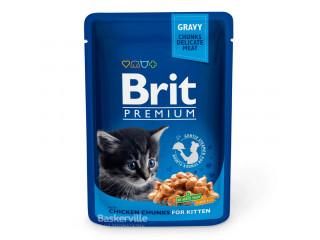 Brit. With Chicken Chunks. Gravy. For Kitten. Влажный корм для котят. Филе курицы в соусе, 100 г