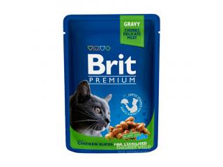 Brit. With Chicken Slices. Gravy. For Sterilised. Влажный корм для стерилизованных котов. Филе курицы в соусе, 100 г