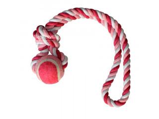 Croci Игрушка для собак канат грейфер с петлей и мячиком, розовый