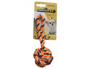 CROCI Игрушка для мелких собак, плетеный мяч с каната ОРАНЖЕВЫЙ