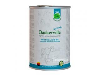 Консервированный корм класса холистик для собак Baskerville Лосось и говядина с пастернаком, шпинатом и зеленью, 800г