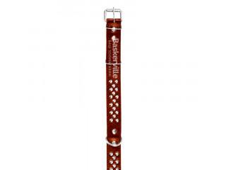 BEFORE Ошейник кожаный коричневый с шипами, ширина 40мм, длина 550-700мм