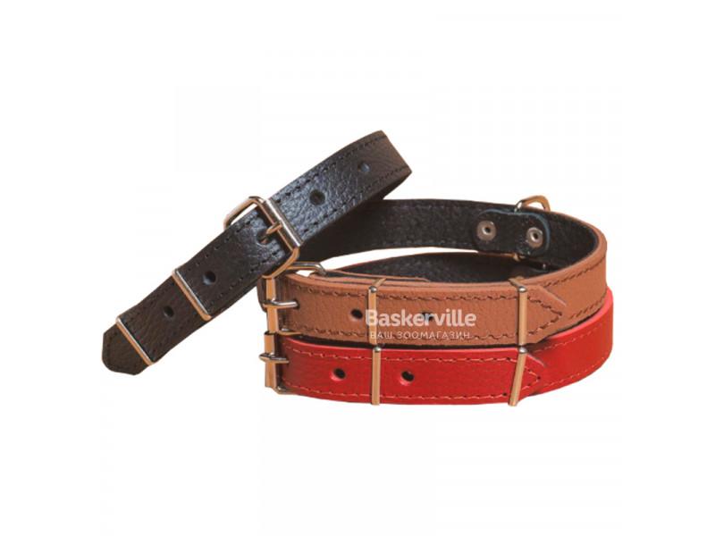 BEFORE Ошейник кожаный красный, ширина 40мм, длина 550-700мм