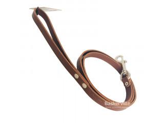 BEFORE Поводок кожаный с тиснением коричневый шириной 14мм, длиной 1200мм