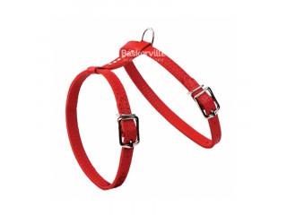 BEFORE Шлейка кожаная красная со стразами для кошек и собак мелких пород