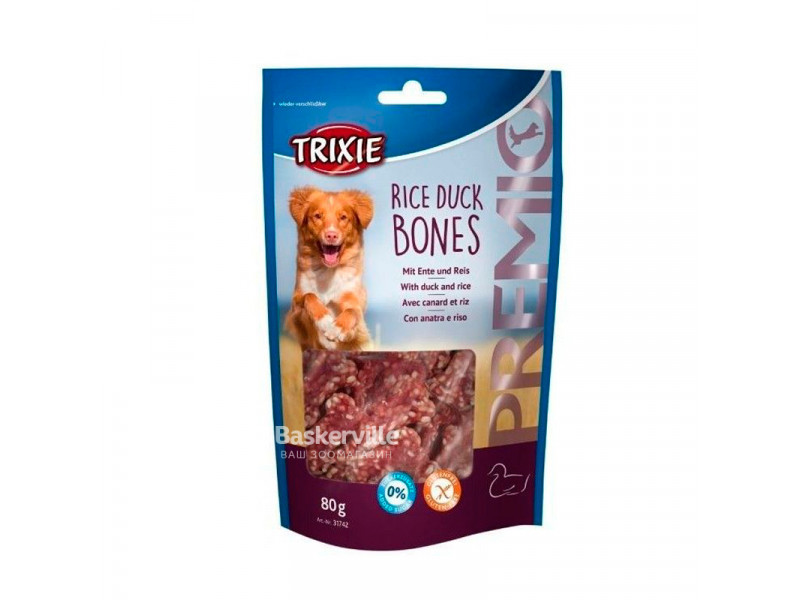 """TRIXIE Лакомства для собак """"PREMIO Rice Duck Bones"""" утка с рисом 80 г"""