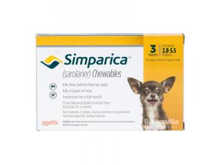 Simparica. Жевательные таблетки для собак весом от 1.3-2.5, 1 таблетка, 5 мг