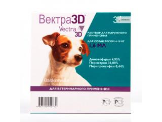 Вектра 3D (Vectra 3D) Капли от блох и клещей для собак от 4 до 10 кг - 1 пипетка