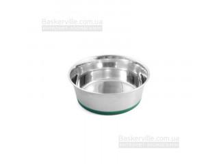 Миска металлическая CaniAMici с салатовым прорезиненным основанием для собак, Croci SPA