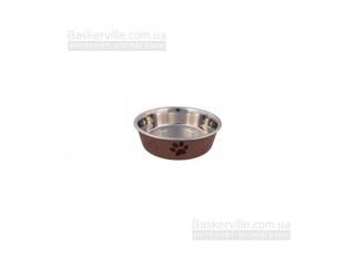 Миска металлическая CaniAMici Roxy с сатиновым покрытием и прорезиненным основанием  для собак, 0,75л