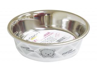 Миска металлическая CaniAMici Meow с сатиновым принтом, 0,23 л, 14см