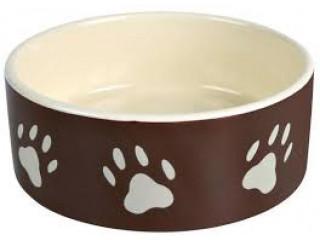 Керамическая миска Trixie коричневая с лапками для собак
