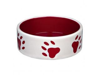 Керамическая миска Trixie красная с лапками для собак