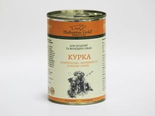 Консервированный корм для щенков и молодых собак Hubertus Gold Курица с Картошкой и Морковкой, 400 г