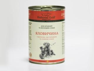 Консервированный корм для щенков и молодых собак Hubertus Gold Говядина с Яблоком и Пастернаком, 400 г