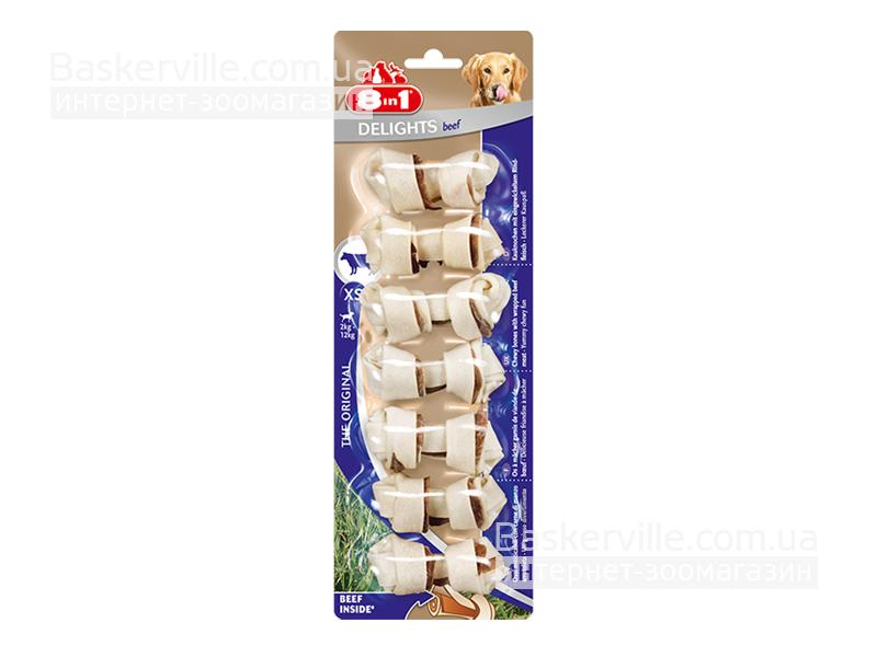 8in1 Delights. Beef Bone. Кость c говядиной для зубов собаки, 7 шт, XS