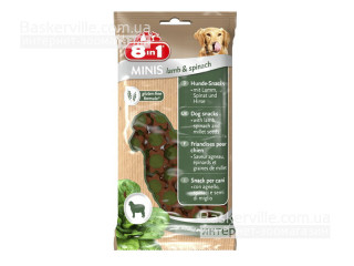 8in1 Minis. Lamb & Spinach. Лакомство с ягненком и шпинатом для собак, 100 г