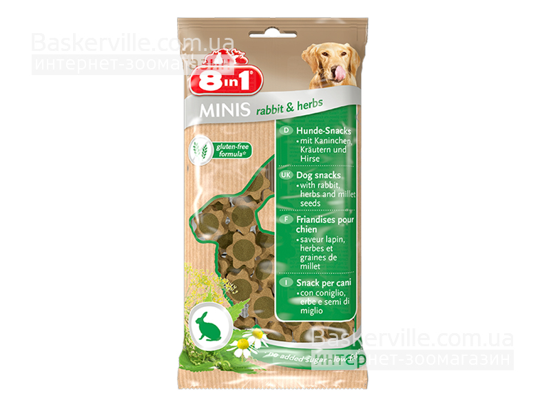 8in1 Minis. Rabbit & Herbs. Лакомство с кроликом и ромашкой для собак, 100 г