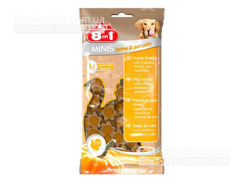 8in1 Minis. Turkey & Pumpkin. Лакомство с индейкой и тыквой для собак, 100 г