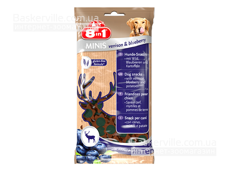 8in1 Minis. Venison & Blueberry. Лакомство с олениной и черникой для собак, 100 г