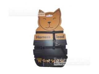 Collar - Шлея черного цвета для котят/щенят/кроликов/котов с поводком.