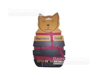 Collar - Шлея красного цвета для котят/щенят/кроликов/котов с поводком.