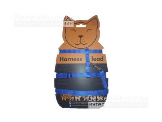 Collar - Шлея синего цвета для котят/щенят/кроликов/котов с поводком.