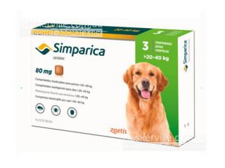 Simparica. Жевательные таблетки для собак весом от 20-40 кг, 1 таблетка, 80 мг