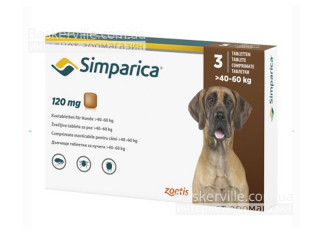 Simparica. Жевательные таблетки для собак весом от 40-60 кг,  1 таблетка, 120 мг