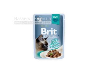 Brit. Premium. Gravy. For Adult. Высококачественный влажный корм для взрослых котов. Филе говядины в соусе, 85 г