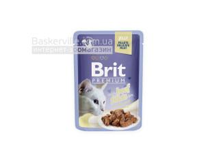 Brit. Premium. Jelly. For Adult. Высококачественный влажный корм для взрослых котов. Филе говядины в желе, 85 г
