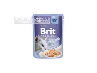 Brit. Premium. Jelly. For Adult. Высококачественный влажный корм для взрослых котов. Филе лосося в желе, 85 г