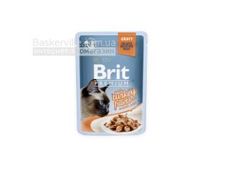 Brit. Premium. Gravy. For Adult. Высококачественный влажный корм для взрослых котов. Филе индейки в соусе, 85 г