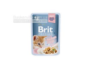 Brit. Premium. Gravy. For Kitten. Высококачественный влажный корм для котят. Филе курицы в соусе для котят, 85 г
