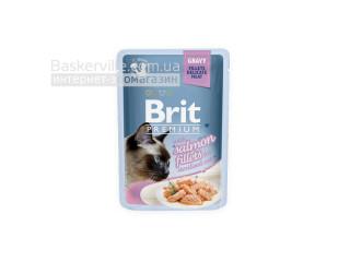 Brit. Premium. Gravy. For Sterilised. Высококачественный влажный корм для стерилизованных котов. Филе лосося в соусе, 85 г