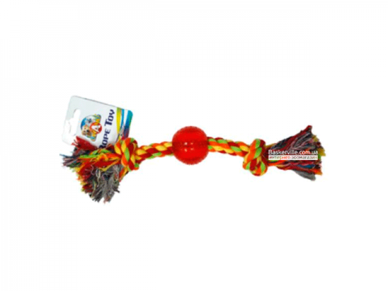 CaniAMici. Канат с узлами и резиновым мячом, 30,5 см