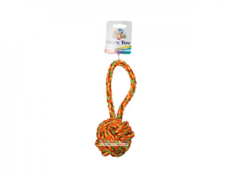 CaniAMici. Канат с ручкой и узловым мячом для собак, 23 см