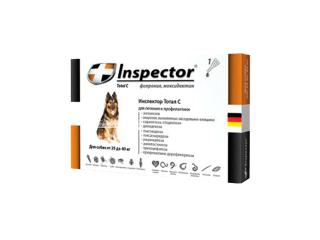 Inspector. Капли от внешних и внутренних паразитов для собак, от 25 до 40 кг