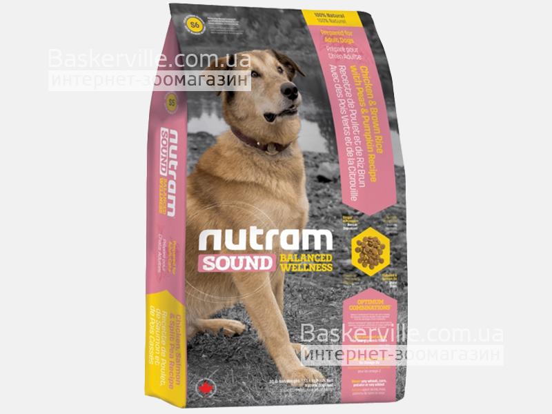 S6 Nutram Sound Balanced Wellness Natural Adult Сухой корм для взрослых собак с курицей и коричневым рисом