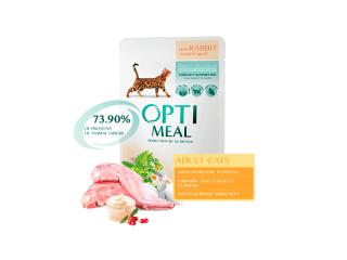 Optimeal. Консервированный корм для взрослых котов с кроликом в белом соусе, 85 г