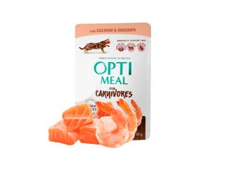 Optimeal. Консервированный корм для взрослых котов с лососем и креветками в соусе, 85 г