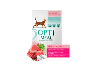 Optimeal. Консервированный корм для взрослых котов с телятиной в клюквенном соусе, 85 г