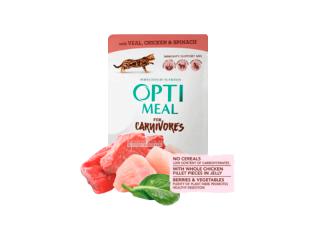 Optimeal. Консервированный корм для взрослых котов с телятиной и куриным филе в шпинатном соусе, 85 г